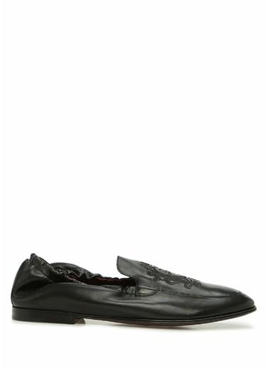 Dolce&Gabbana Dolce&Gabbana  Logo Nakışlı Erkek Deri Loafer 101620286 Siyah
